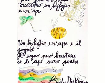 Print Emily Dickinson clover Bee and Dream
