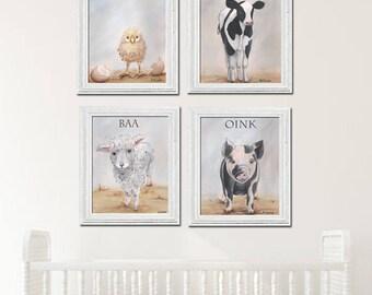 Nursery Prints, Gender Neutral Baby Gift, Farm Animal Nursery Set Of 4, Cow Sheep Pig Chic, Baby Farm Animal Nursery Wall Decor, 6 Sizes