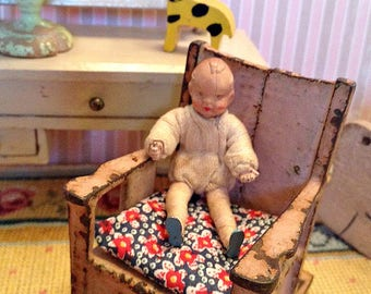 Vintage German Miniature Caco Baby Doll from the 1950's for 1:12 Scale Dollhouse