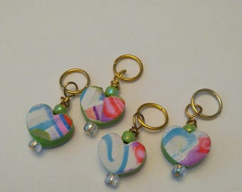 Heart Polymer Clay Pendant Stitch Markers