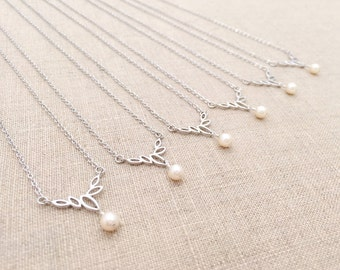 Bridesmaid Pearl Necklace, Set of 3, 4, 5, or 6 Necklaces / Swarovski Cream Pearl / Dainty Necklace / Gift for Bridesmaids