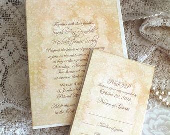 Romantic Elegant Vintage Wedding Invitation Handmade by avintageobsession on etsy