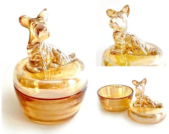 Amber Scottish Terrier Dish, Jeannette Marigold Amber Iridescent Carnival Glass Dog, Glass Dog Covered Dish, West Highland Terrier Dish