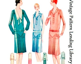 1929 Ladies Day Dress with Pleats - Reproduction Sewing Pattern #Z5816