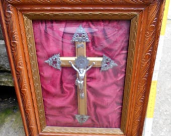 French crucifix catholic cross under glass dormed frame. Religious pictures.
