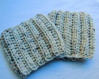 Ivory Flecked Ribbed Boot Cuffs