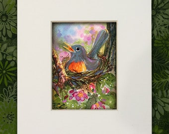 Spring ACEO Robin on Nest - Original ACEO Painting - FREE Shipping - Easter