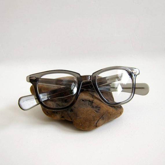 60s Horned Rim Eye Glasses Clear Blue Plastic Frames Reading Wayfarer Style  Eyeglasses Unisex