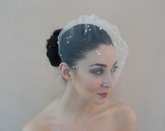 Tulle Birdcage Veil Adorned with Flat Back Pearls in Ivory White Champagne Blush Black - Ready to ship in one week