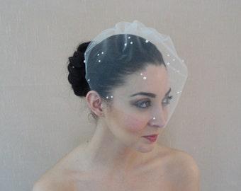 Tüll Vogelkäfig Schleier geschmückt mit flachen wieder Perlen in Elfenbein weiß Champagner erröten schwarz - versandfertig in 1 Woche