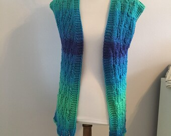 Hand knit open front sweater vest