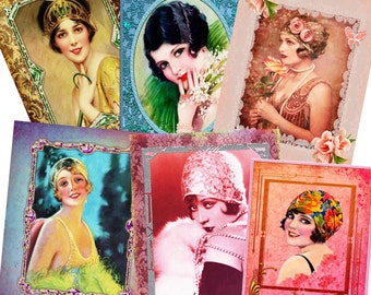 6 1920s Ladies Collage pack. (DOWNLOAD)