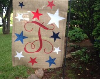 Memorial Day Monogrammed Garden Flag / July 4th monogrammed flag / Labor Day Garden Flag / burlap flag