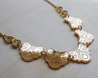 Engraved Floral Necklace. Laser-Cut & Etched Mirror Acrylic Flowers - Gold Mirrored Perspex - Shiny Festival Sparkle Statement
