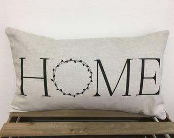 Home Pillow - Farmhouse Style with Wreath Design in Custom Colors