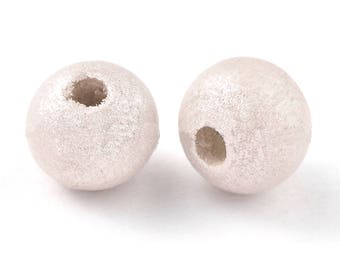 10 x beads wood 8 mm white metallic