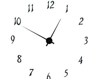 """KIT39AN complete wall clock kit with complete set of 4 inch numbers to make 40"""" diameter extra large wall clock with tapered hands"""