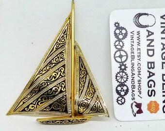 Vintage Damascene ship pin, vintage pin, vintage yacht pin, Damascene pin, ship brooch, Damascene ship pin, sailing boat pin, vintage yachts