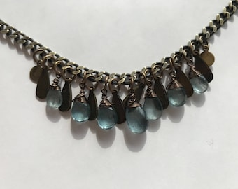 Steel Blue Moss Aquamarine Necklace
