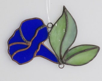 Stained Glass Blue Morning Glory Trumpet and Leaves Suncatcher