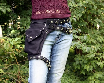 Leg strap utility belt, also in plus sizes, made of organic cotton * Festival belt * Fanny Pack, Holster bags, Hip Bag Burning man
