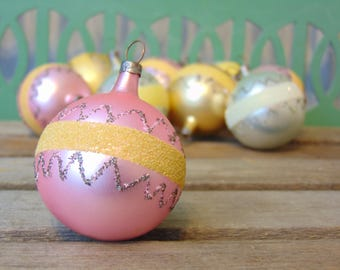 Mid Century Glass Christmas Ornaments Hand Blown Hand Painted From Czechoslovakia Sparkly Glitter Bulb Ornaments Czech Glass Set of 9