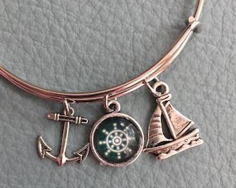 Nautical Silver Bracelet Inspired by Charm Bracelet, Glass Cabochon Ship Wheel,  Anchor, Sailboat, yacht club, marinas, DG 3