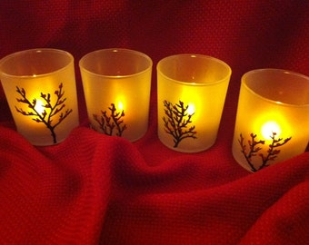 Hand-painted frosted votive candle holders