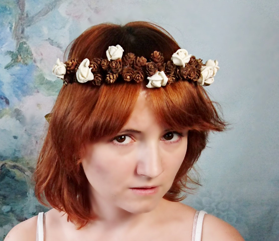 Pine cone crown wreath ivory sola flowers gold ribbon flower girl pine cone crown wreath ivory sola flowers gold ribbon flower girl bride fall autumn woodland izmirmasajfo Image collections