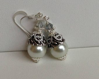Creamy White and Grey Pearl Bridal Bridesmaid Earrings