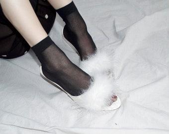 vintage heels, kitten pom pom puff heels bedroom slippers all white three inch heels, powder puff || sz US 9.5