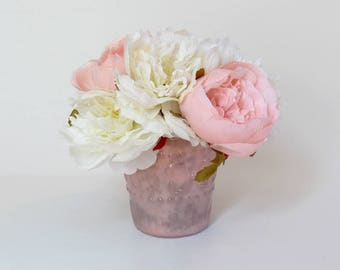 Pink flower vase etsy pink silk flower arrangement in a glass vase light pink roses and white peonies mightylinksfo