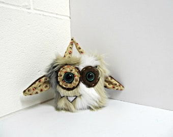 Mini Monster Plush - Handmade Minor Monster Plushie - Brown White Gray Multi Faux Fur - OOAK Monster - Small Monster Plush - Small Cute Toy