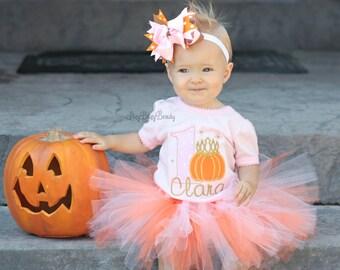 Girls First Birthday - Halloween Birthday Outfit - Thanksgiving Birthday Outfit - Second Birthday - Pumpkin Shirt - Pumpkin Princess - TUTU