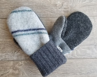 Best Wool Sweater Mittens // Womens Sweater Mittens // Fleece Lined mittens // Gray with Stripes