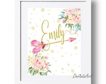 Personalized Name print Pink and gold Nursery art printable Wall Custom name printable Watercolor flowers  arrow print 16x20 11x14 8x10 5x7
