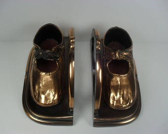Bronzed Baby Shoe Bookends - So Sweet