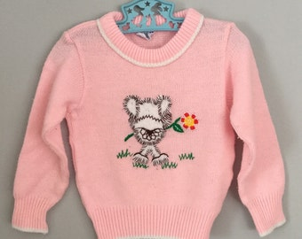 Vintage 80s Pink Bear and Flower Sweater Size 2t 3t