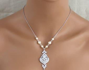 Bridal necklace, Wedding necklace, Swarovski Wedding jewelry, Art Deco necklace, Vintage inspired bridal jewelry, Pearl drop necklace, EMMA
