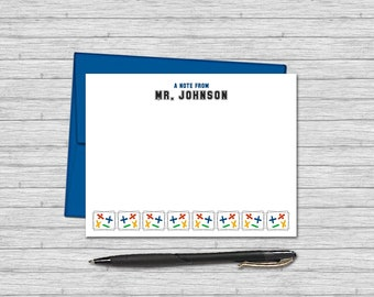 Personalized Flat Note Cards for Math Teachers - Teacher Gifts - Custom Stationery for Teachers | Math Symbols