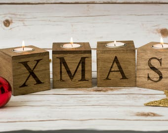 Christmas Home Decor Merry U0026 Bright Christmas Candle Holders Wooden Xmas  Candles Holders Christmas Decorations Wooden
