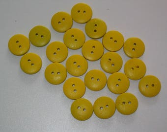 Set of 10 round buttons 2 holes look yellow wood