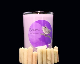 Magic lila Absicht Kerze mit Kristall, fördert Erfolg, Intuition, Hellsehen, Mondstein Punkt, Anis, Kiefer, Gewürznelke, + Lavendel