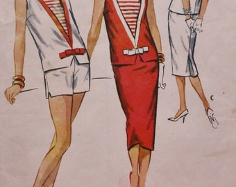 McCall's 4573 1950s Pattern, Inset Top, Pencil Skirt, Shorts, Vintage Sewing Pattern, Nautical Look, Multiple Size