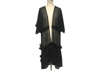 Long Black Chiffon Sheer Kimono with Ruffles
