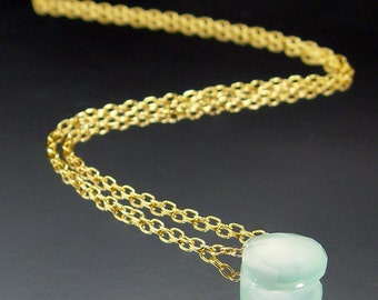 Klymene - Seafoam Chalcedony and Gold-Filled Necklace