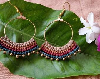 macrame earrings, colorful earrings ,boho, macrame jewelry, tribal earrings, macrame handmade, dangle earrings, micro macrame, brass beads
