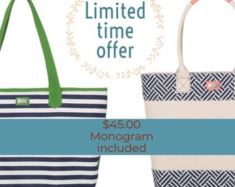 Ame & Lulu Tote Bags with Embroidered Monogram