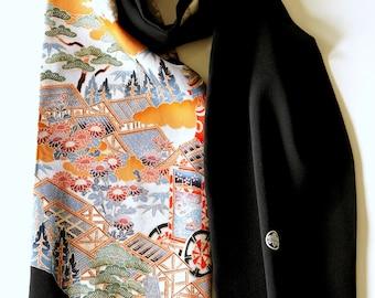 Japanese silk kimono scarf | 145 | Hand made from vintage kimono fabrics