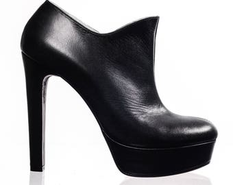 Black Leather High Heels Ankle Boots
